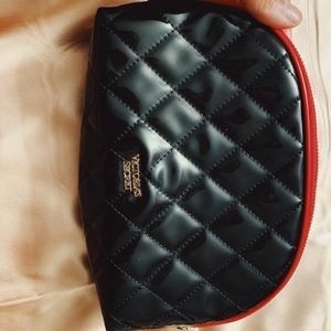 Victoria's Secret black quilted cosmetic bag